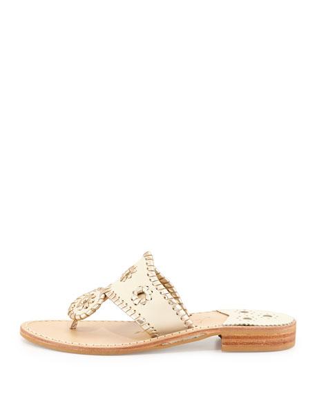 Palm Beach Whipstitch Thong Sandal, Bone/Platinum
