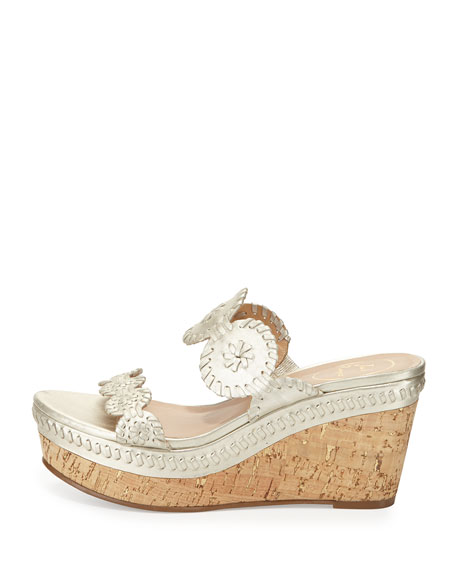 Leigh Cork Wedge Slide, Platinum