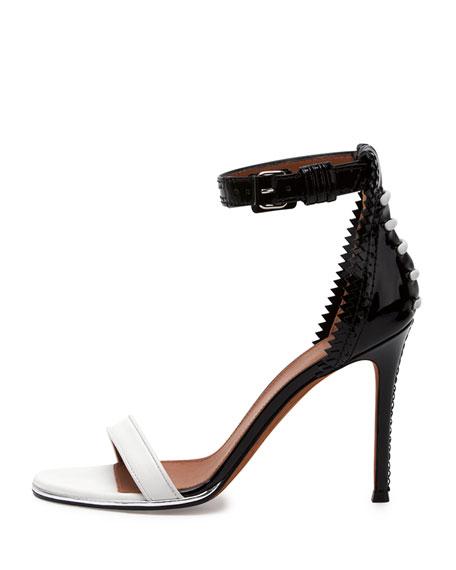 Brogue-Back Bicolor Ankle-Wrap Sandal