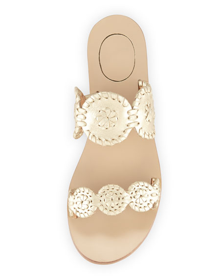 Jack Rogers Lauren Double-Strap Metallic Sandal, Gold