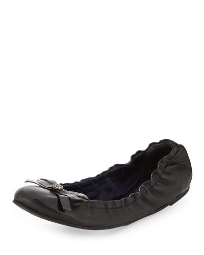 Regina Leather Ballerina Flat, Black