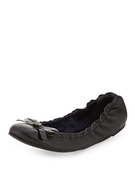 Regina Leather Ballerina Flat, Black