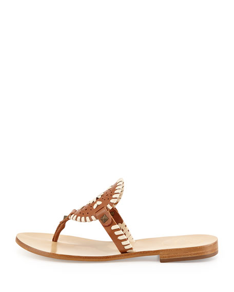 Georgica Leather Thong Sandal, Cognac/Bone