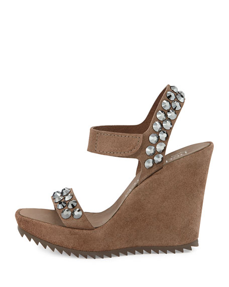 Vanesa Crystal-Studded Suede Wedge Sandal