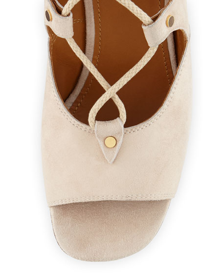 Suede Gladiator Wedge Sandal, Cream Puff
