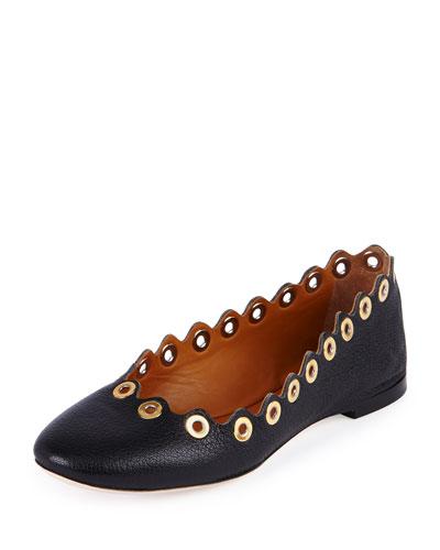 Wavy Rivet Leather Ballerina Flat, Black