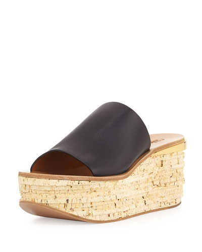 Cork Slide Wedge Sandal, Navy