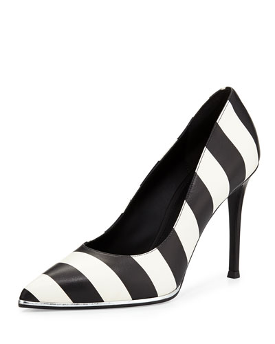Striped Leather Pump, Black/White