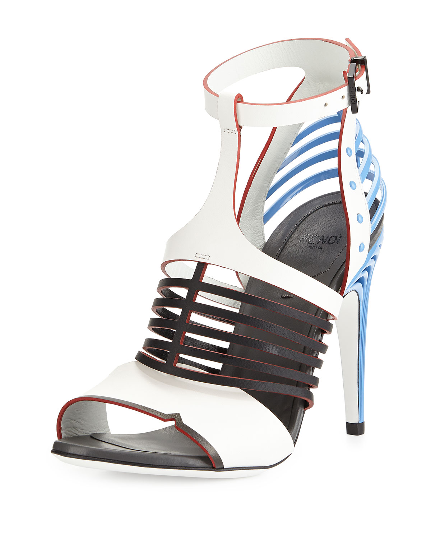 Fendi  Cage-Front Metal-Heel Sandal, White/Black