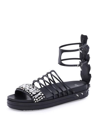 Crystal Leather Cage Sandal, Black
