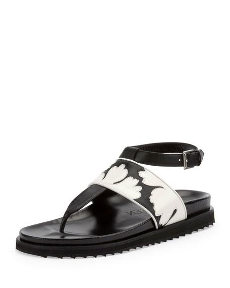 Alexander McQueen Leaf Band Thong Sandal, Black/White