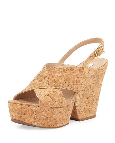 Liberty Cork Split-Wedge Sandal, Natural Cork