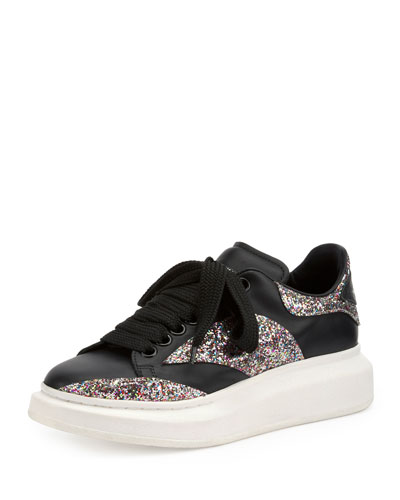 Leather & Glitter Lace-Up Sneaker, Black/Multi