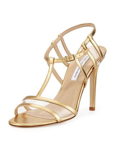 Viola Metallic T-Strap Sandal, Gold