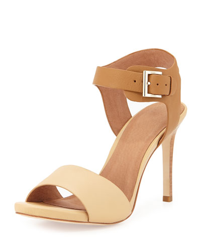 Elery Naked Two-Tone Sandal, Natural/Cuoio