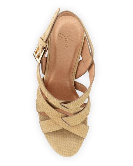 a046763442aa Joie Inez Snake-Embossed Leather Platform Sandal