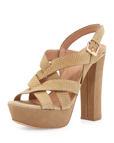Inez Snake-Embossed Leather Platform Sandal, Cement