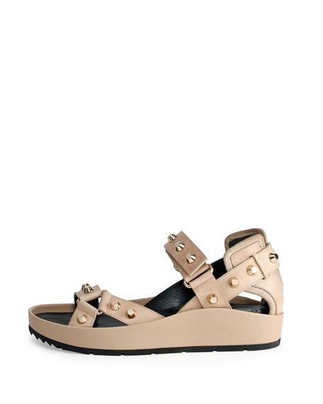 Balenciaga Studded Leather Flat Sandal, Ficelle