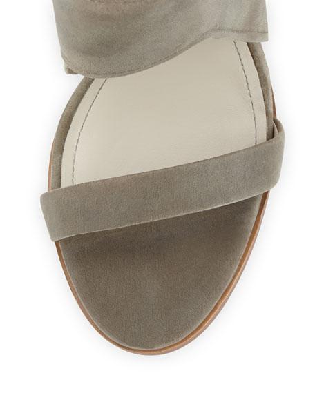 Venga Leather Ankle-Wrap Sandal, Fog