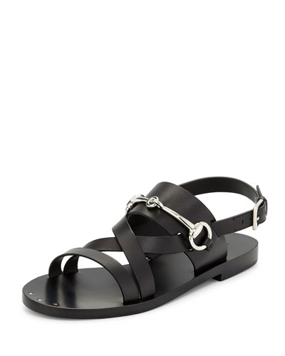 Strappy Leather Bit Sandal, Black