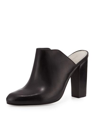 Verdi Leather Mule Slide, Black