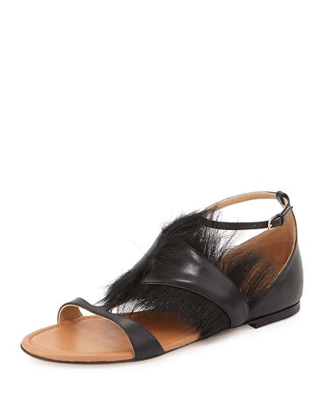 Francesco Russo Fur Trimmed Flat Sandal, Nero