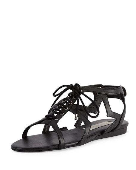 Stella McCartneyFaux-Leather Stars Flat Sandal, Black