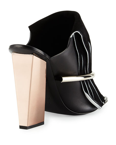 Leather Fringe Banded Mule, Black