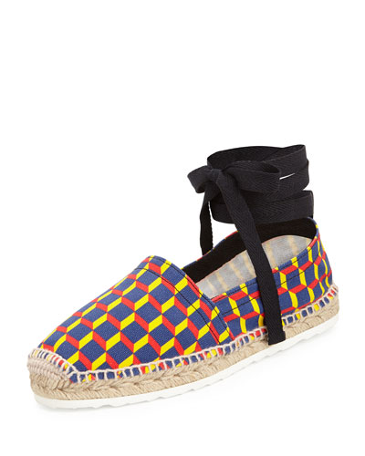 Cube-Print Ankle-Wrap Espadrille Flat, Primary
