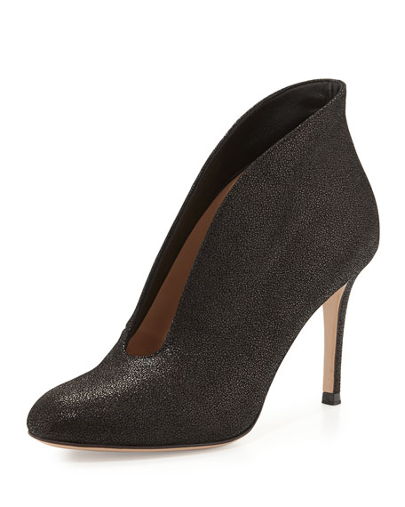 Gianvito Rossi Metallic V-Neck Ankle Bootie, Black