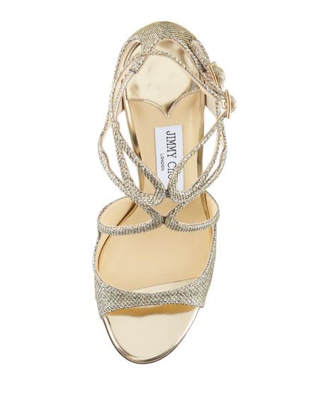 Jimmy Choo Lang Glittered Strappy Sandal