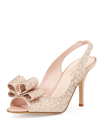 charm glittered bow slingback, rose gold