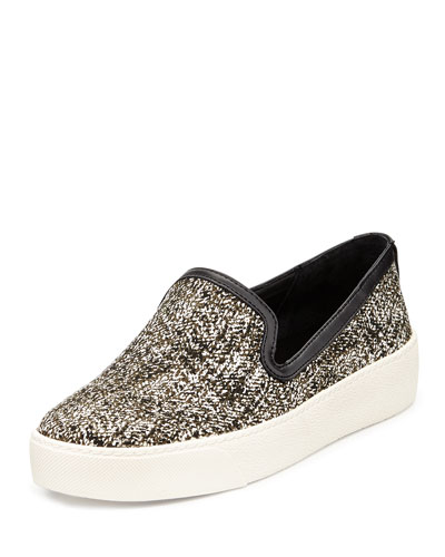 Becker Crackle-Print Slip-On, White/Black