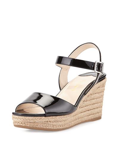 Patent Espadrille Wedge Sandal, Nero