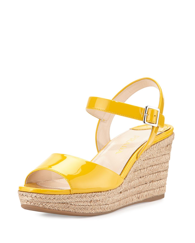 b77eb586533e Prada Patent Espadrille Wedge Sandal