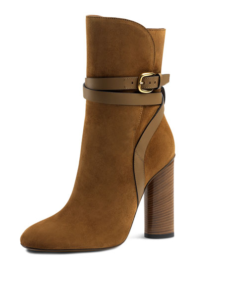 Gucci Suede Ankle-Strap Boot, New Marron