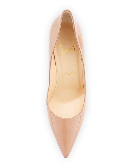 Apostrophy Patent Red Sole Pump, Nude