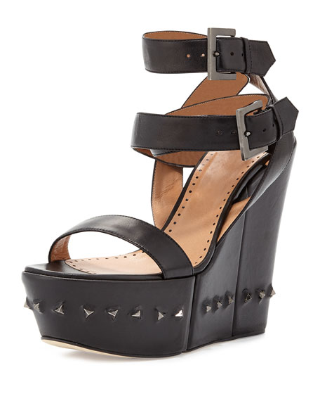 Nelly Crisscross Ankle-Wrap Flex Wedge Sandal, Black