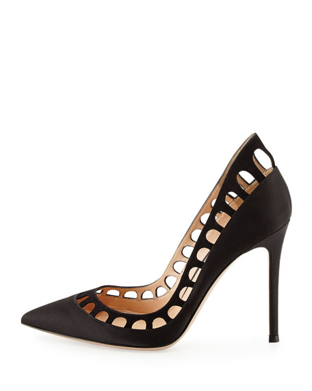 Cutout-Collar Leather Pump, Black