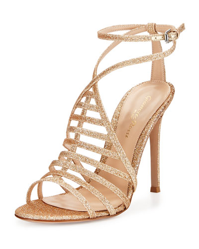 Glitter Strappy Cage-Front Sandal, Nude