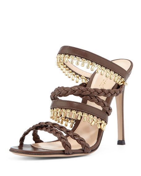 Gianvito Rossi Beaded Leather Strappy Mule Sandal, Java