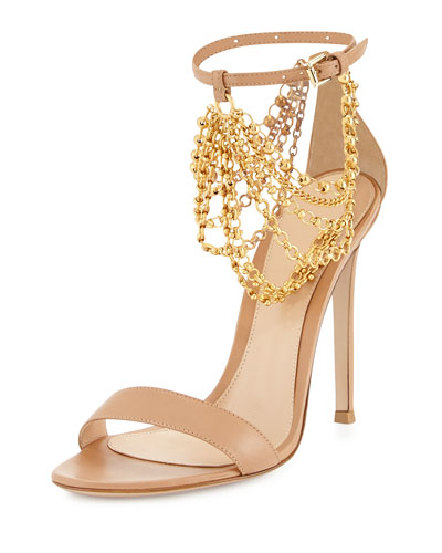 Leather Ankle Chain Sandal, Powder