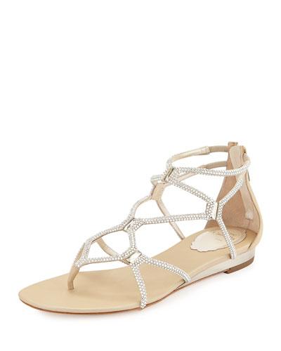 Crystal Strappy Sandal, Silver