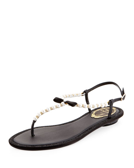 Rene CaovillaPearly & Crystal Flat Thong Sandal, Black