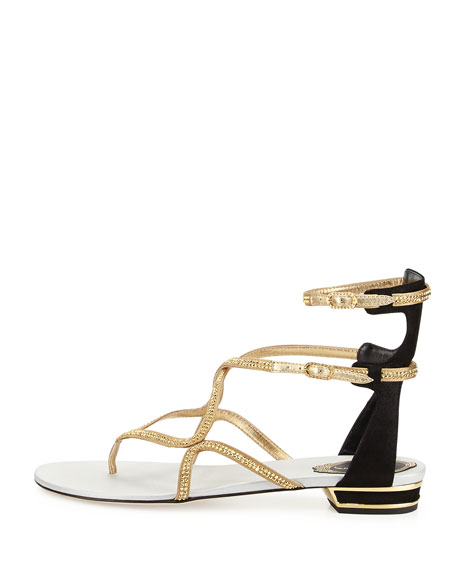 Crystal Strappy Flat Ankle-Wrap Sandal, Black