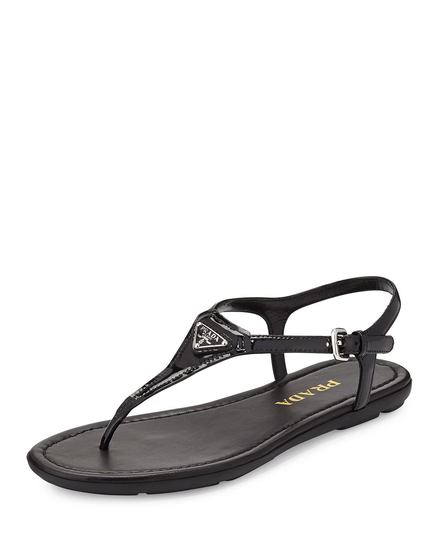 e6ce5e93305cbe Prada Triangle Patent Thong Sandal
