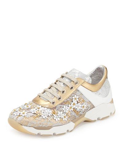 Metallic Floral Lace-Up Sneaker, Metallic/White