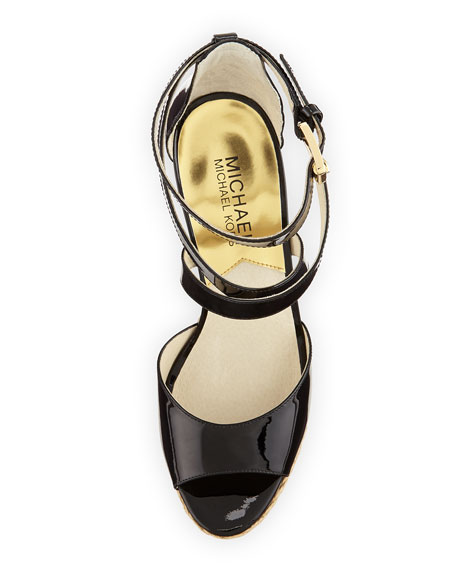 Gabriella Patent Leather Wedge Sandal, Black
