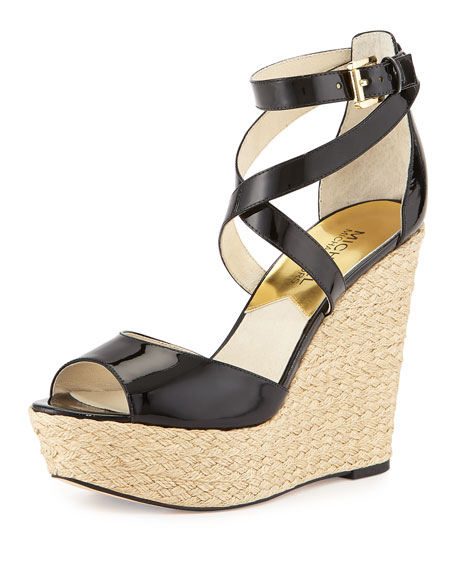 MICHAEL Michael Kors Gabriella Patent Leather Wedge Sandal,