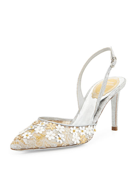 Metallic Floral Slingback Sandal, Silver